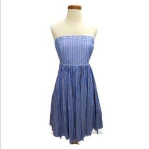 J. Crew Strapless Fit-and-Flare Midi Striped Dress